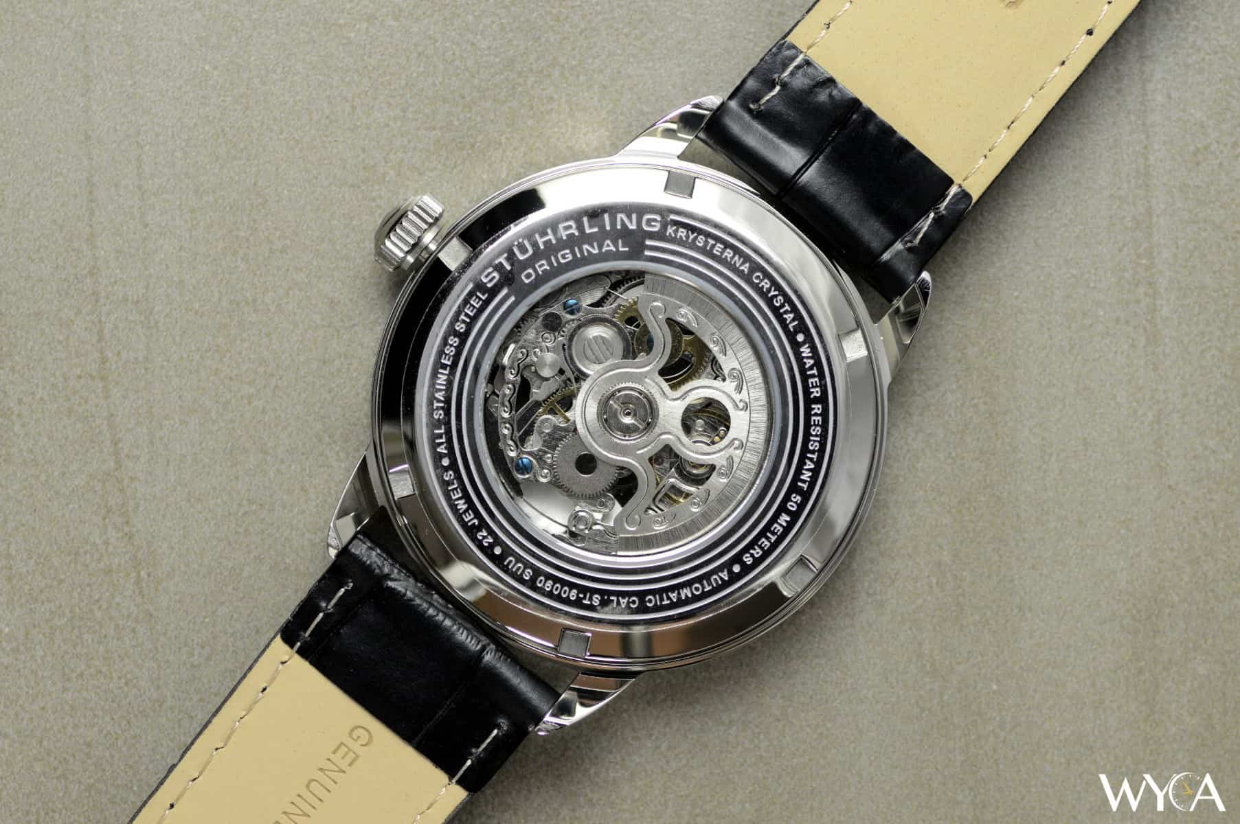 pin strap original watches stuhrling automatic men skeleton s executive watch