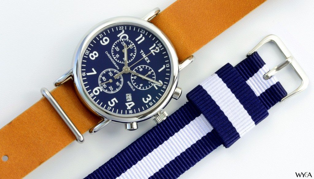 Timex Weekender Chronograph on a Barton Blue & White Nato Strap