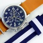 Timex Weekender Chronograph on a Barton Blue & White Nato Strap