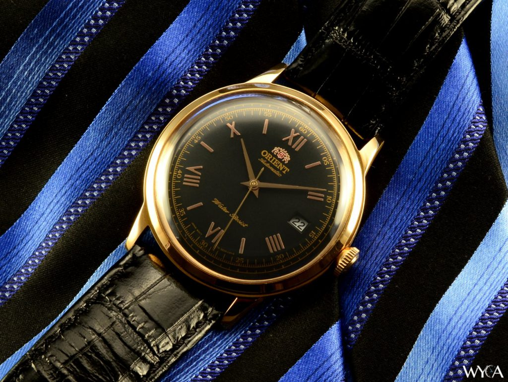Orient Bambino V2 on Black & Blue Tie