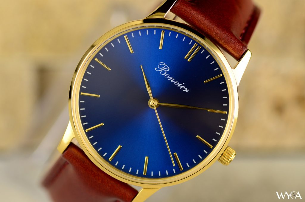 Bonvier Classic 36mm - Blue & Gold Dial