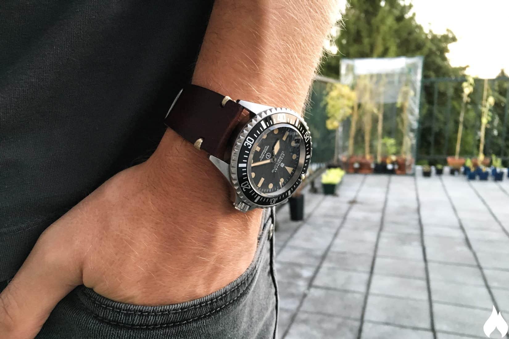Rolex submariner black leather strap