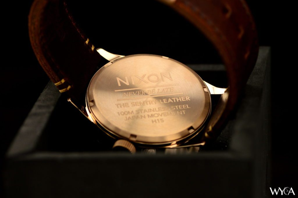 Nixon Sentry Leather A105 Rose Gold Caseback