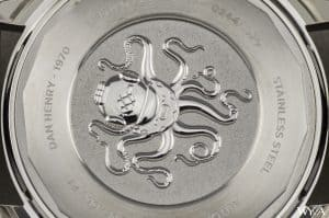 Close-up of the engraving on the Dan Henry 1970 caseback.
