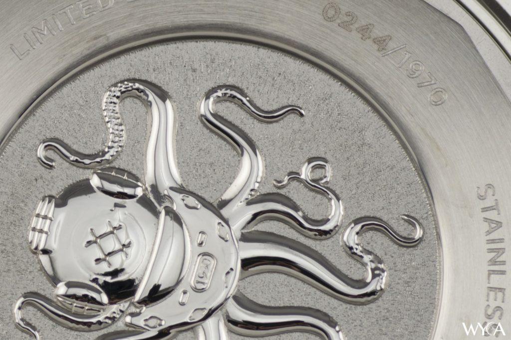 An even closer look at the engraving on the Dan Henry 1970 caseback.