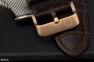 Eldon engraved clasp on brown leather strap