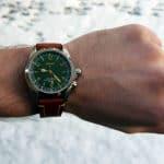 Hirsch Liberty on Seiko Alpinist- Wrist Shot