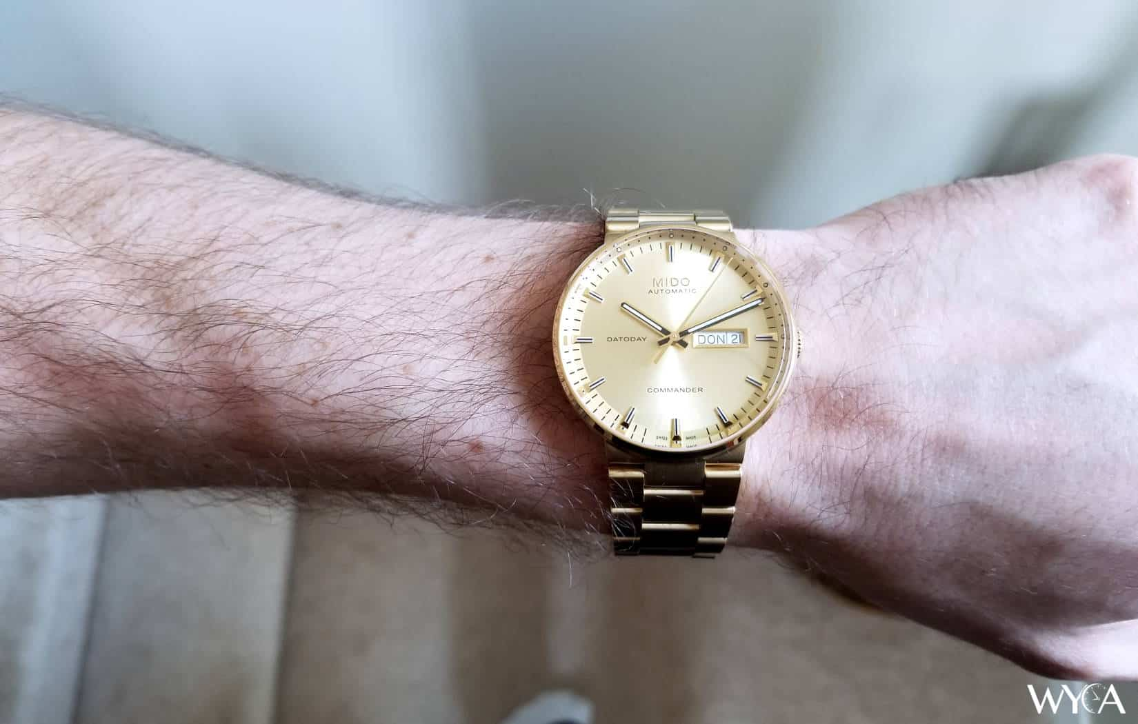 Gold Mido Commander Wrist Shot