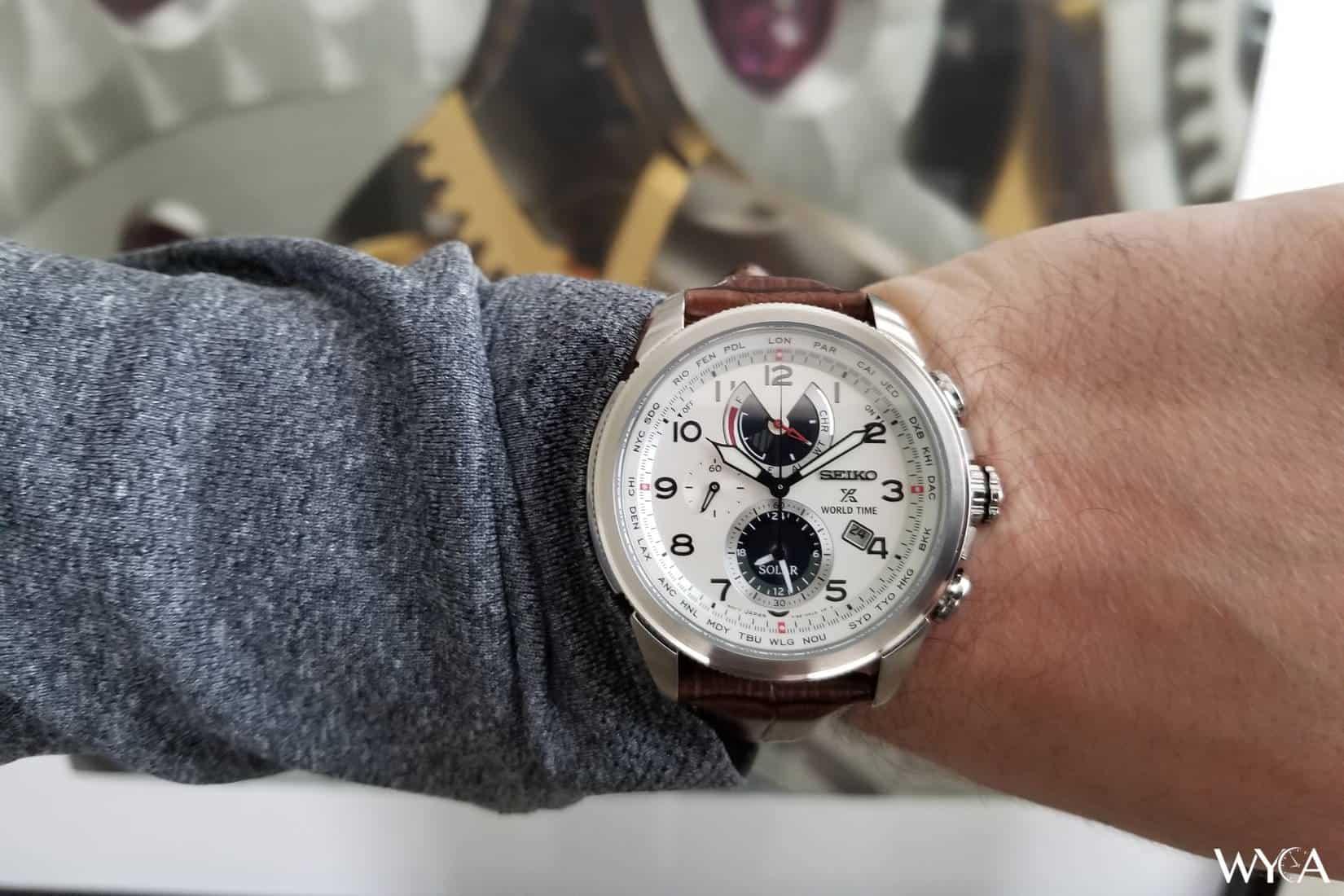 Seiko Prospex Solar World Time SSC509 Wrist Shot